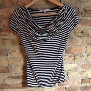 Soft and cute off shoulder striped T-shirt